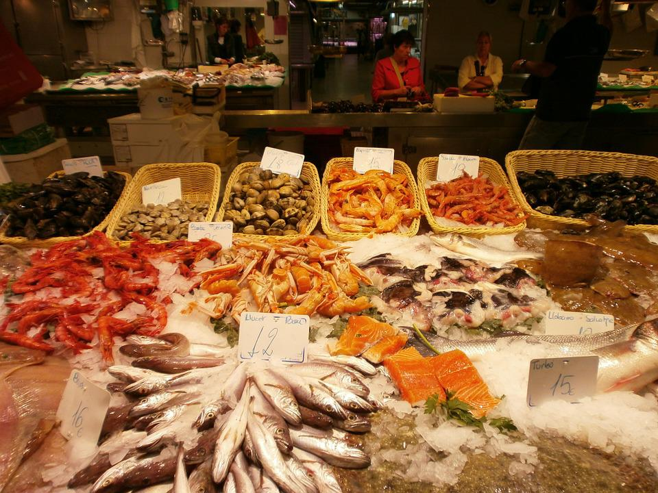 Fishmonger, Fish, Market Hall, Barcelona, Fish Stand