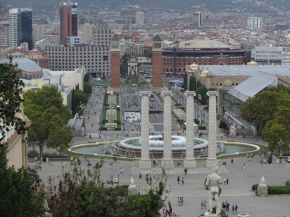 Barcelona, Plaza Espanya, Road, Space, Fountain, City