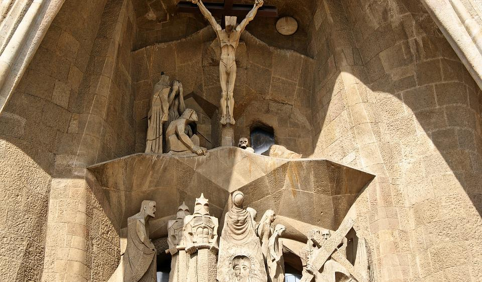 Spain, Barcelona, Church, Sagrada Familia, Christ