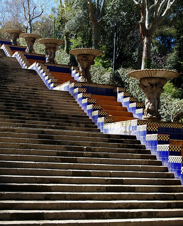 Barcelona, Stairs, Spain, Blue, Architecture, Europe