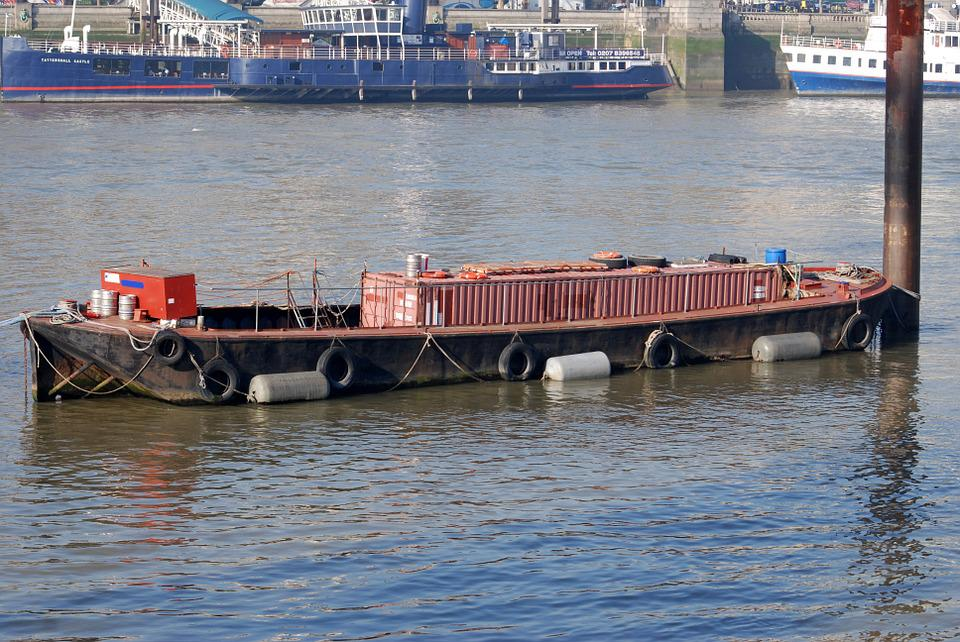 Barge, Storage, Container, River