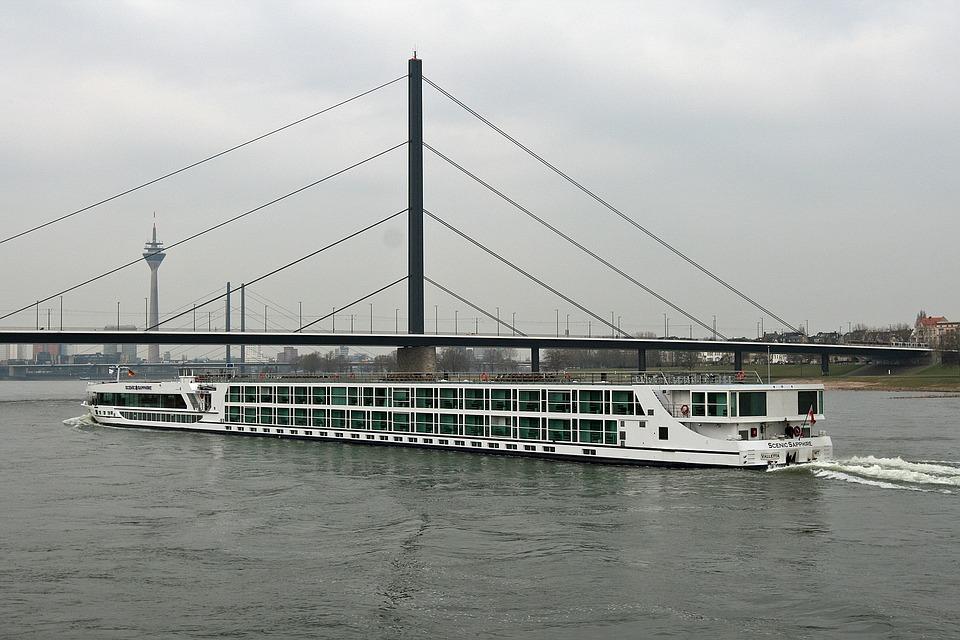 Barge, River, Rhin, Düsseldorf