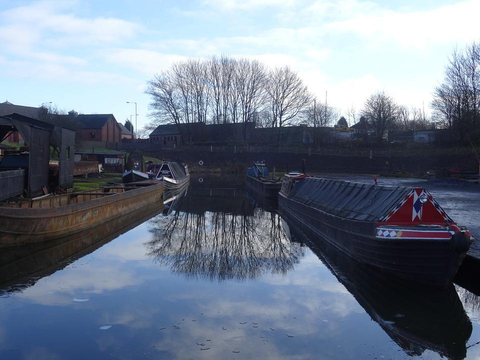 Canal, Reflection, Tree, Barge, Sky, View, Water