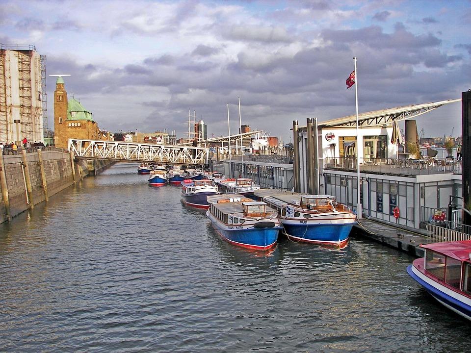 Port, Barges, Landungsbrücken, Hamburg, Harbour Cruise