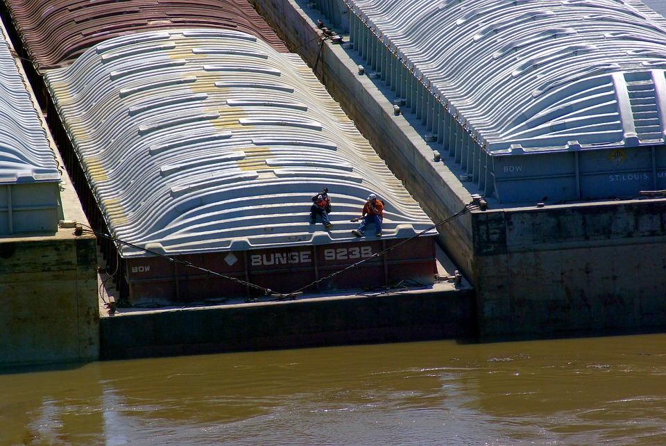 Barges On Arkansas River, Barge, River, Water, Shipping