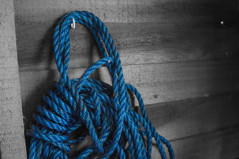 Blue, Rope, Barn, Cowboy, Cord, Blue Rope, Shed, Rough