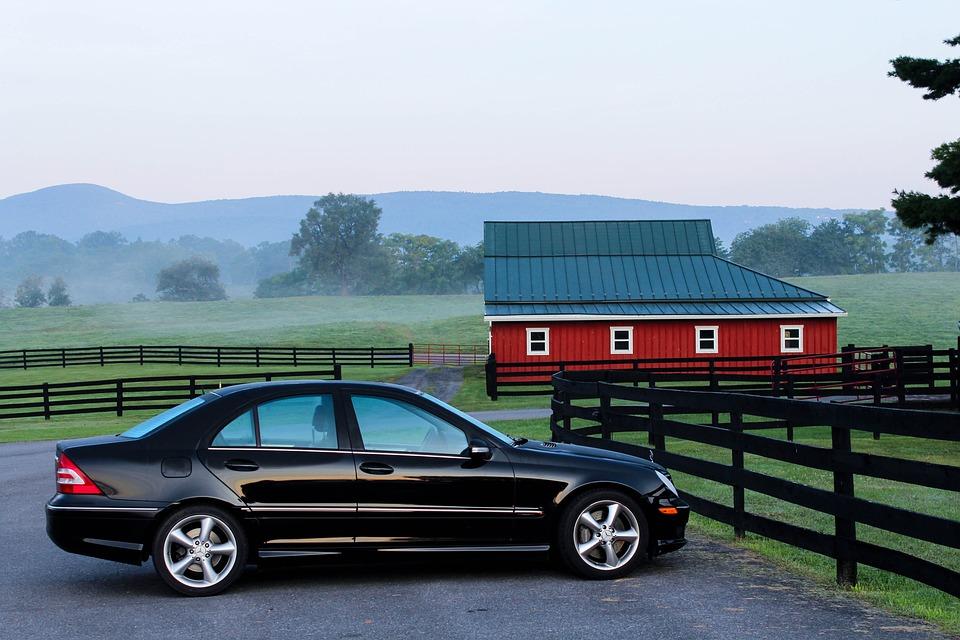 Automobile, Car, Barn, Farm, Ranch, Early Morning