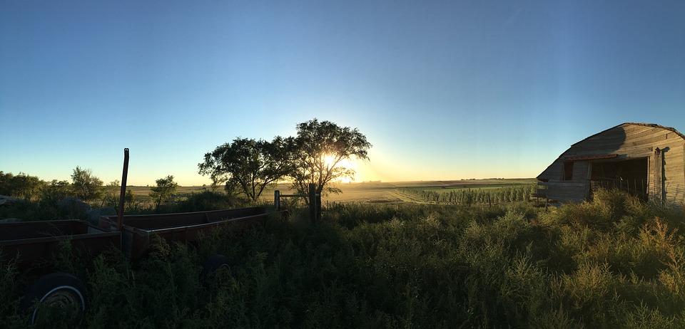 Sunset, Farm, Barn, Agriculture, Countryside, Farmland