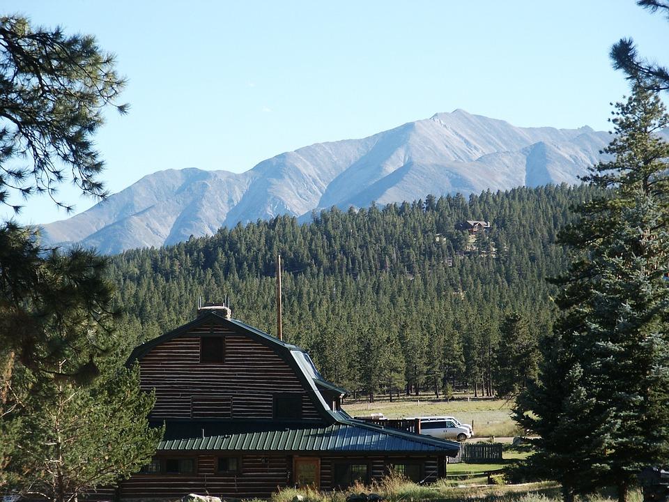Mountains, Colorado, Barn, Rustic, Trees, Sky, Nature