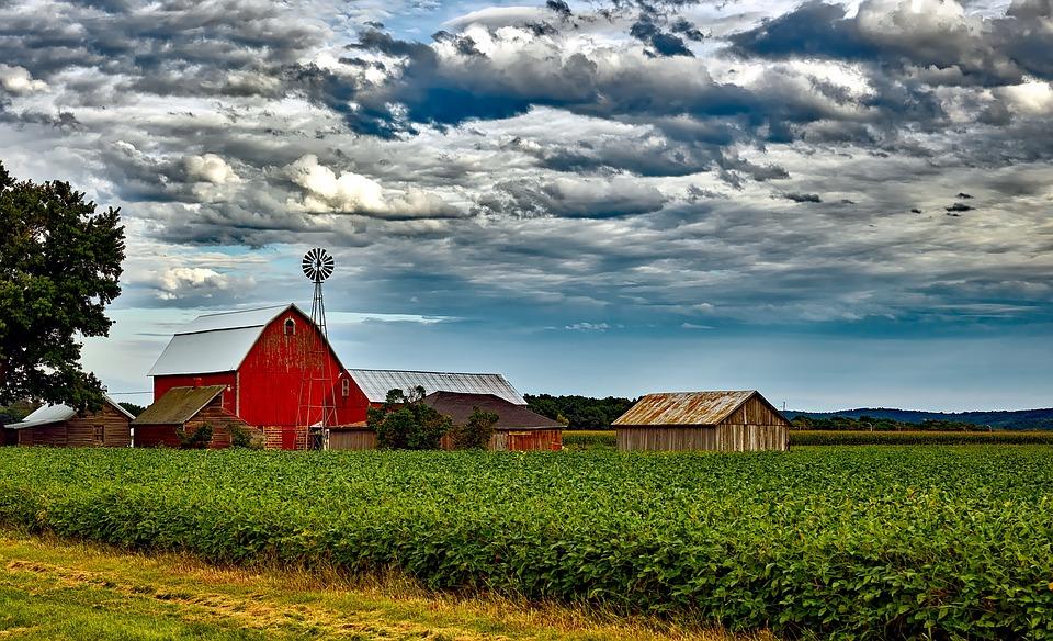 Wisconsin, Landscape, Scenic, Sky, Clouds, Barn