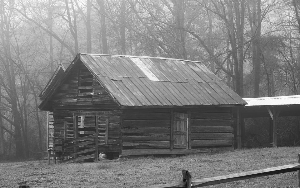Barn, Wood, Shed, Farmhouse, Monochrome