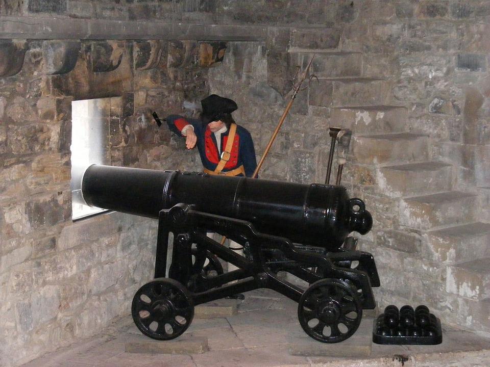 Cannon, Gun, Battlements, Castle, Artillery, Barrel