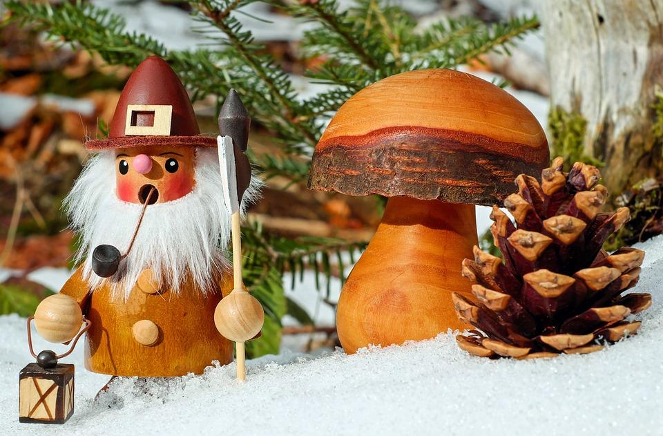 Smoking Man, Christmas Motif, Figure, Wood, Bart, Pipe