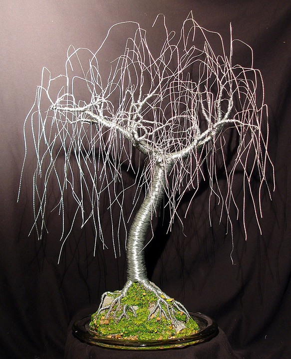 Steel, Wire, Willow, Tree, Glass, Base