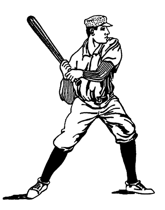 Baseball, Vintage, Drawing, Bat, Sport, Uniform