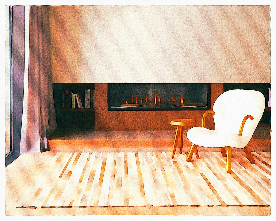 Living Room, Watercolor, Fireplace, Chair, Baseboard