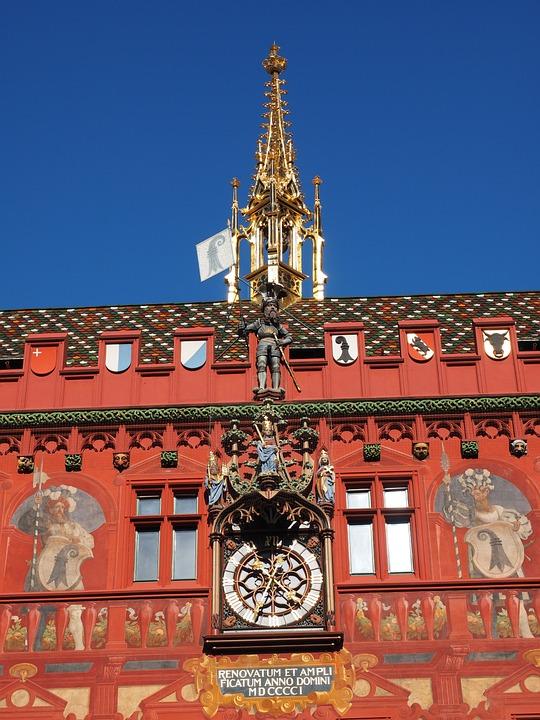 Basel City Hall, Clock, Town Hall Clock, Time