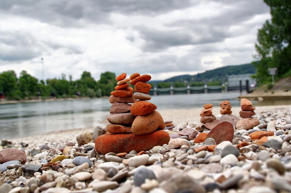Stones, River, Rhine, Basel, Landscape, Outdoor
