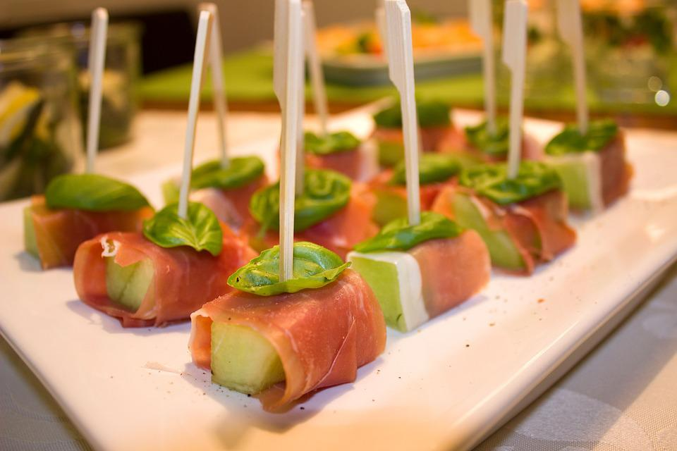 Melon, Ham, Basil, Spit, Snack, Party, Finger Food