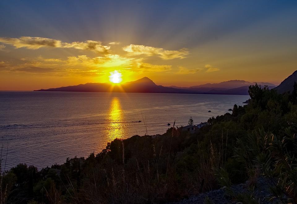 Sunset, Sea, Maratea, Basilicata, Italy, Mist, Yellow