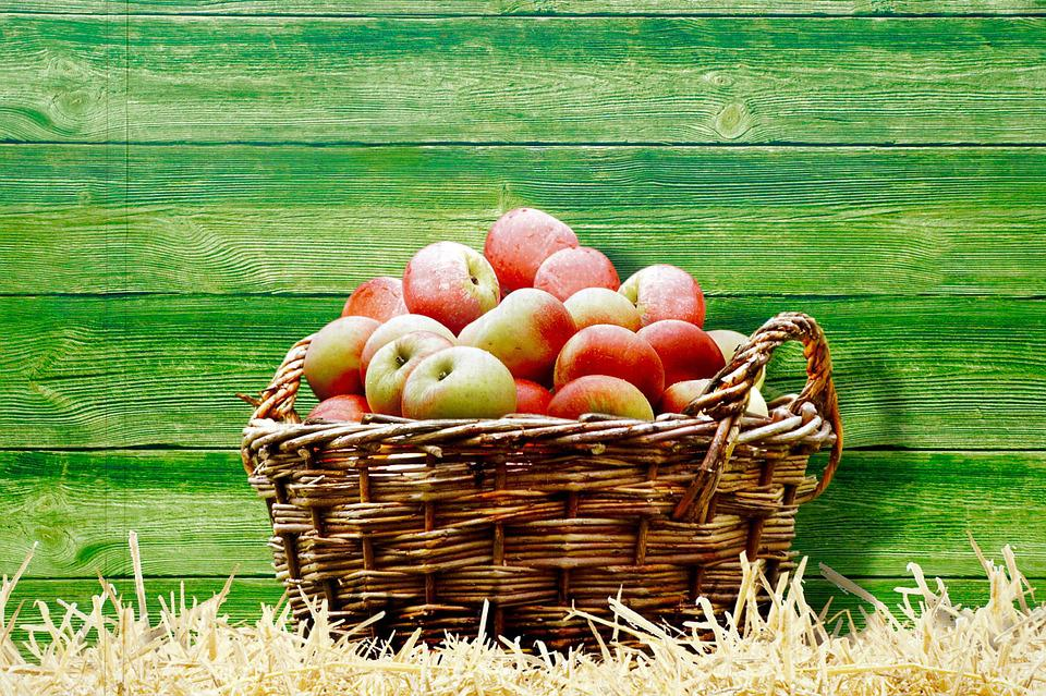 Image, Basket, Apple, Straw
