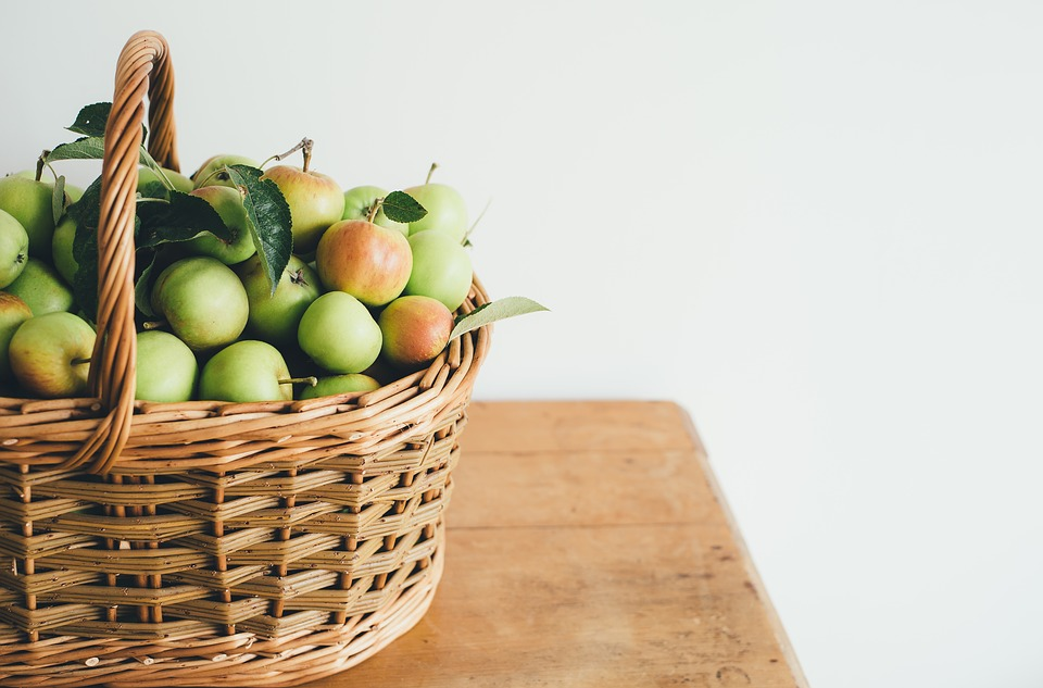 Apples, Fruits, Basket, Woven, Food, Table, Green