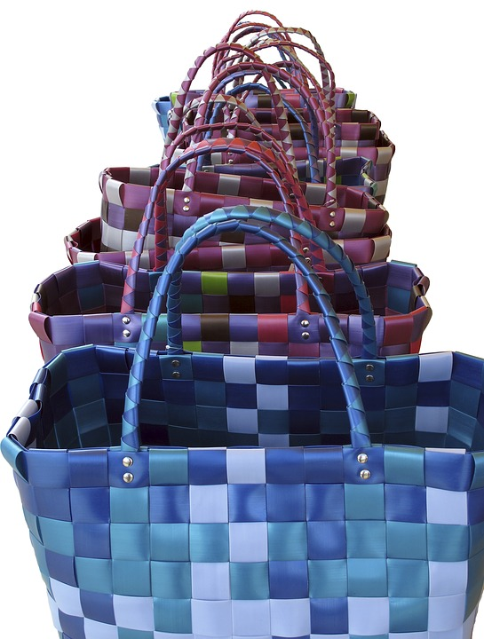 Bag, Basket, Woven, In A Row, Colorful, Isolated
