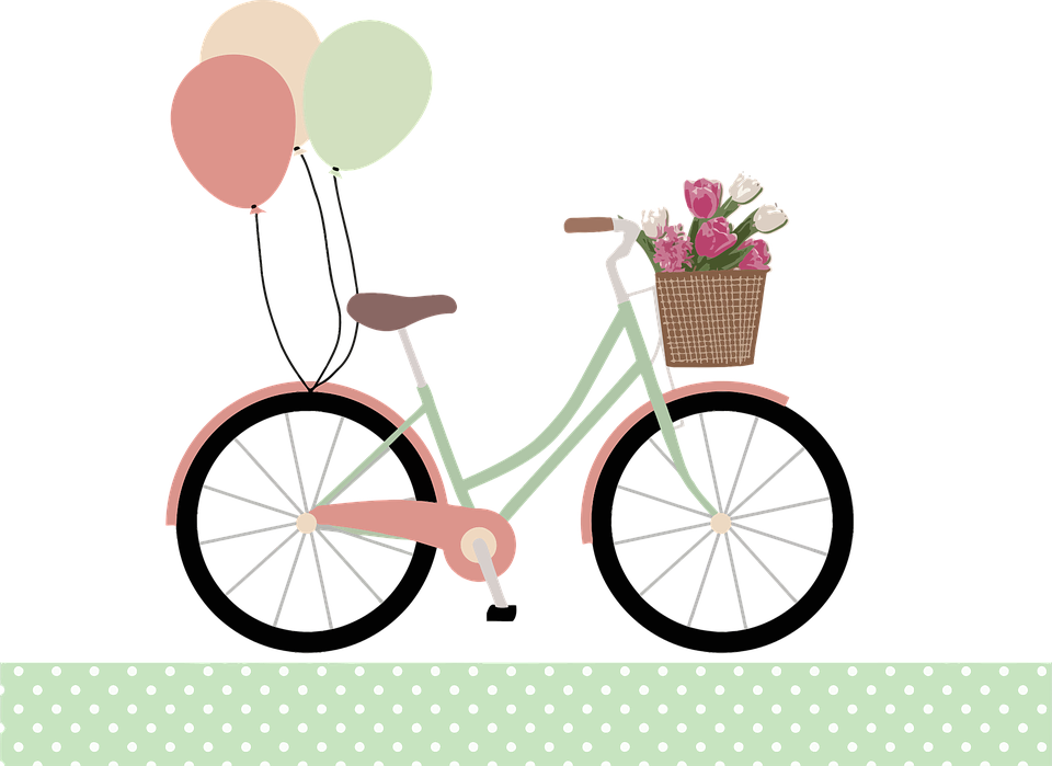 Balloons, Basket, Bicycle, Bike, Flowers, Ride