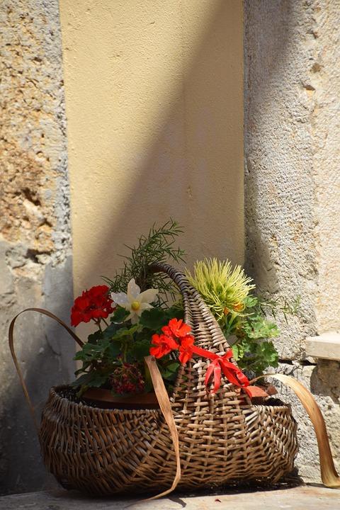Basket, Flowers, Bouquet