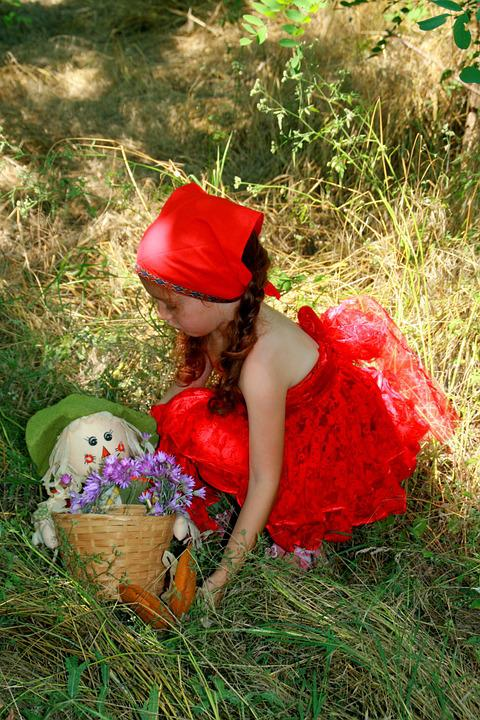 Girl, Red, Little Red Riding Hood, Forest, Basket