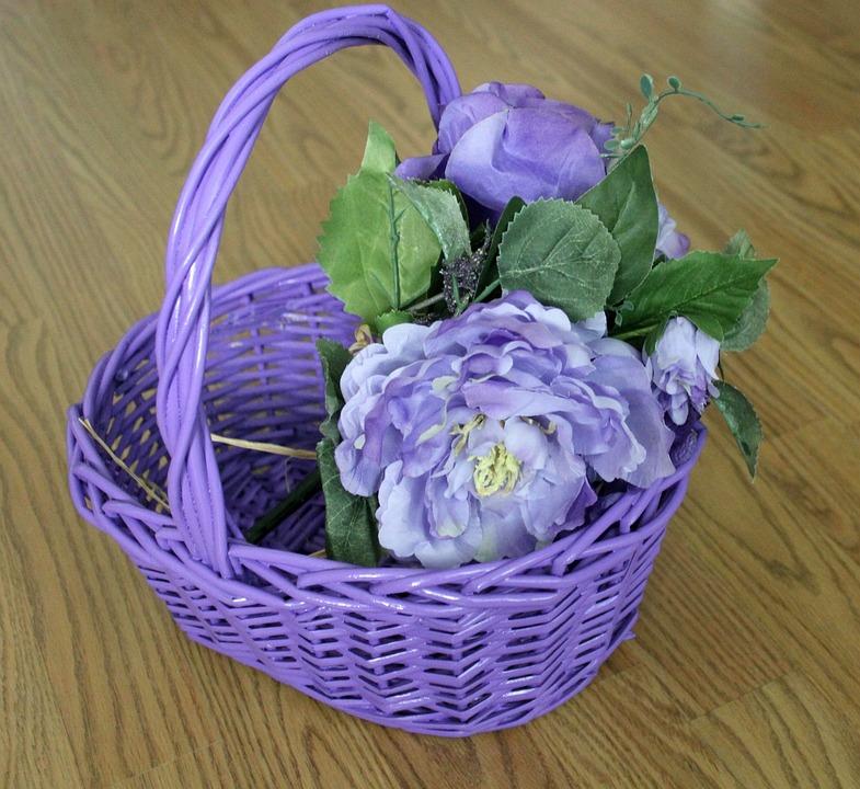 Easter, Basket, Purple Basket, Purple Flower Basket