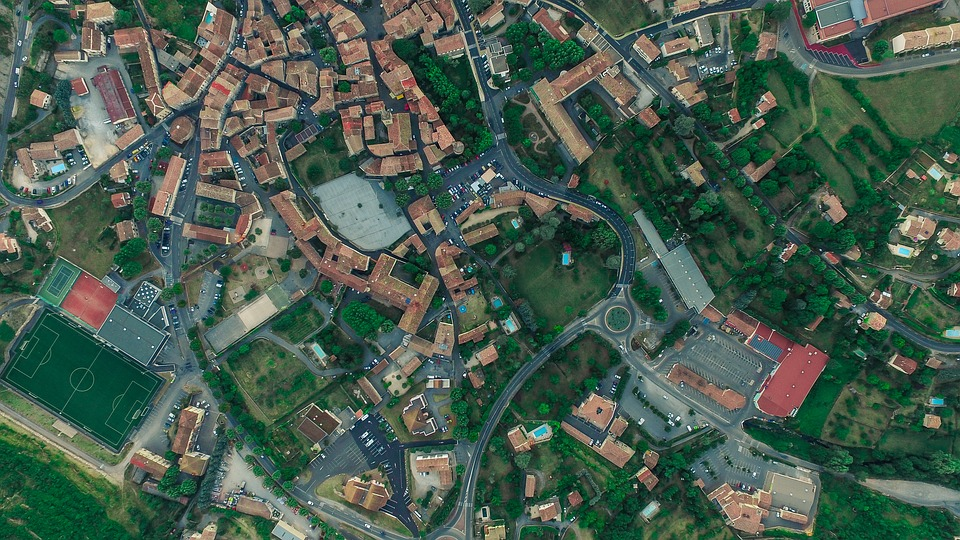 Aerial View, Basketball Court, Houses, Roads, Roofs