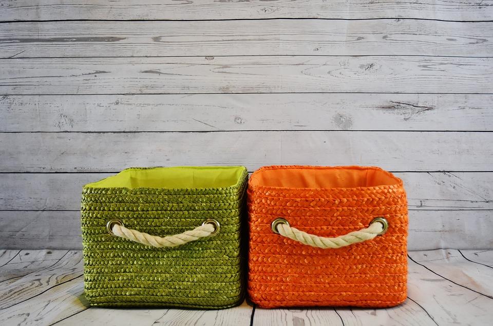 Baskets, Orange, Green, Storage