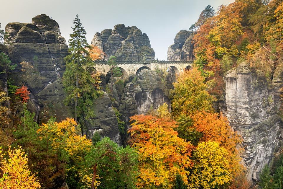 Bastei, Autumn, Elbe Sandstone Mountains, Landscape