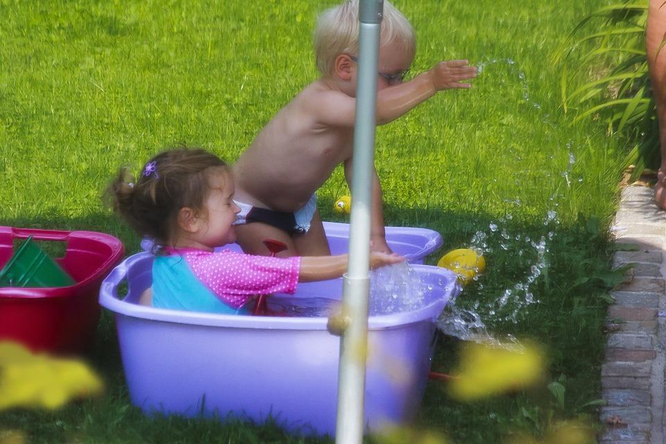 Children, Swim, In The Free, Garden, Bath, Water, Happy