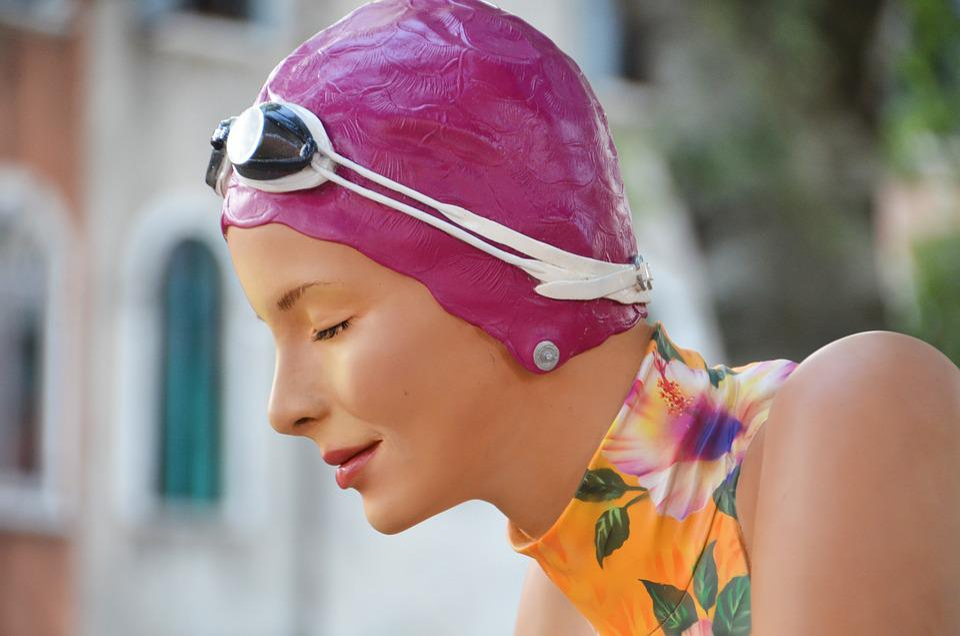 Woman, Figure, Plastic, Bathing Cap, Swim, Swim Goggles