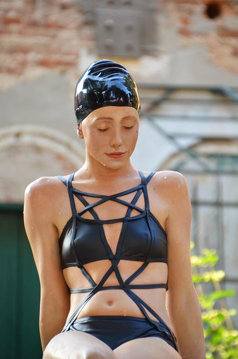 Badenixe, Woman, Sculpture, Mermaid, Bathing Cap