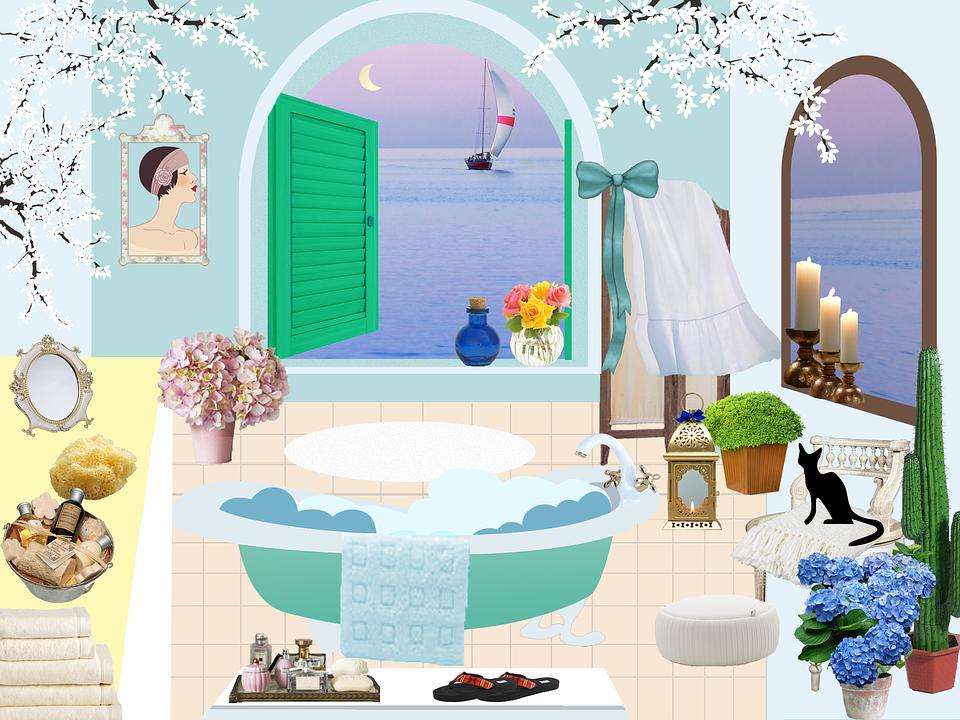 Bathroom, Bath, Antique, Screen, Windows, Arches