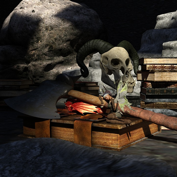 Girl, Dragon, Elf, Skeleton, Books, Battle Axe, Fantasy