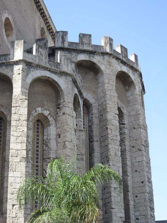 Tower, Orient, Palm, Summer, Sun, Battlements, Arches