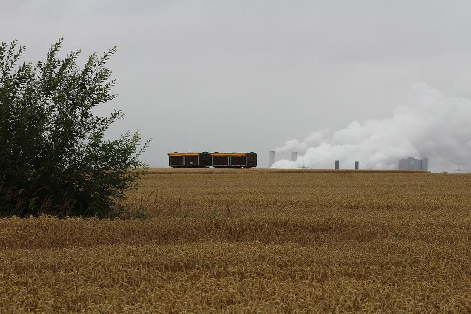 Field, Trailers, Bauer, Bush, Coal Fired Power Plant