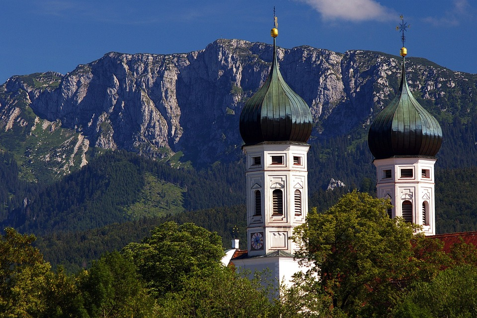 Bavaria, Germany, Mountains, Sky, Clouds, Church