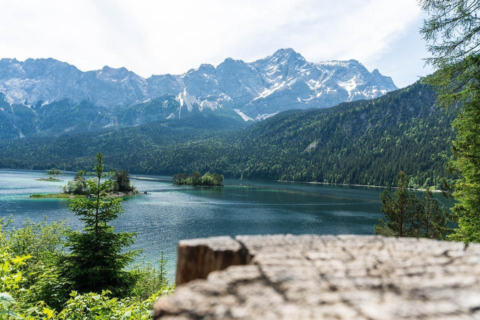 Zugspitze, Eibsee, Mountains, Garmisch, Bavaria, Nature