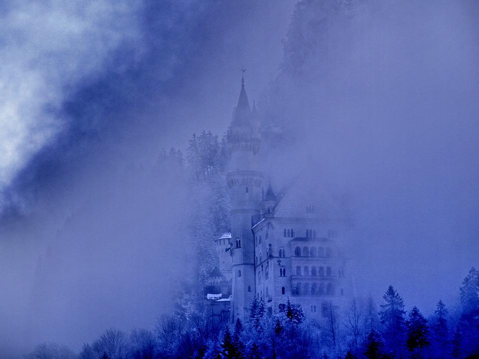 Fog, Kristin, Castle, Bavaria, Mood, Architecture