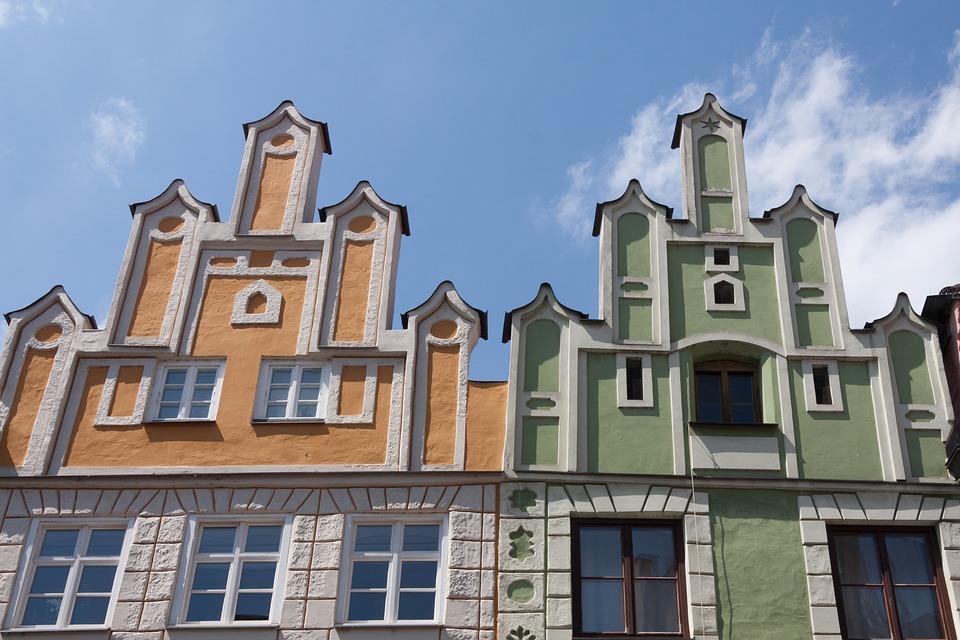 Facades, Renaissance, Landshut, Bavaria, Germany, Sun