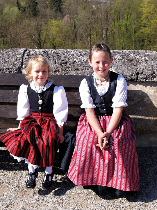 Bavarian, Children, Girls, Costume, Dirndl, Human