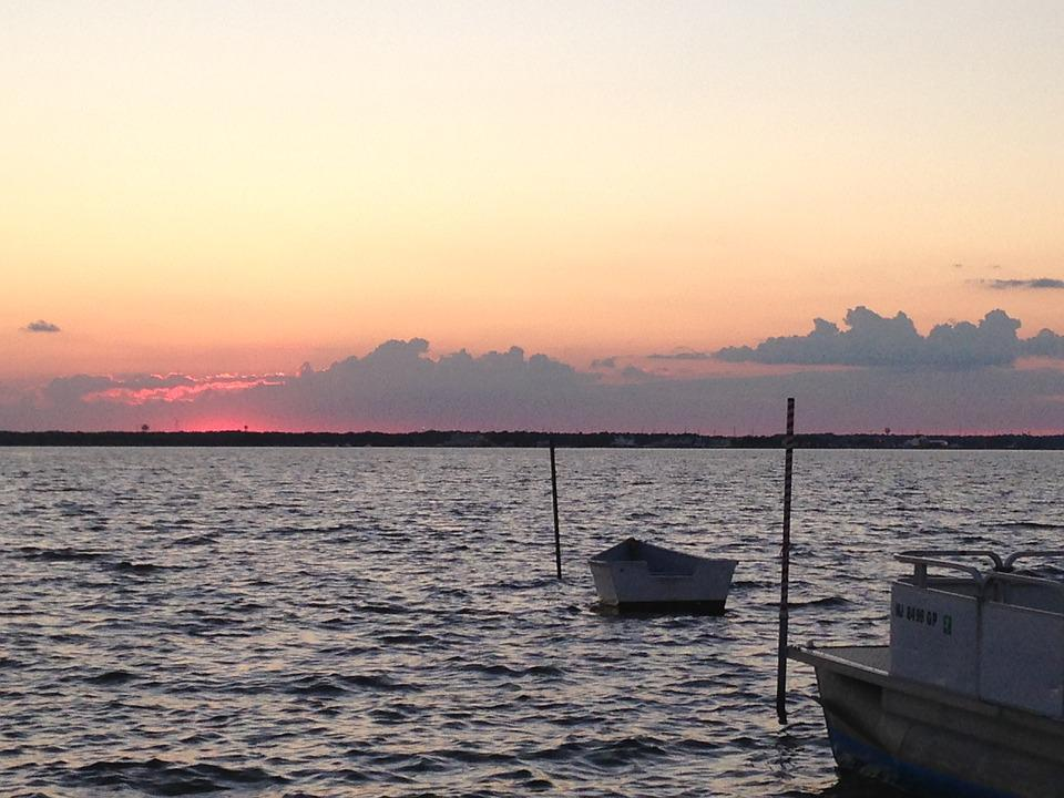 Boats, Bay, Water, Ocean, Sky, Sunset, Shore, Scenery