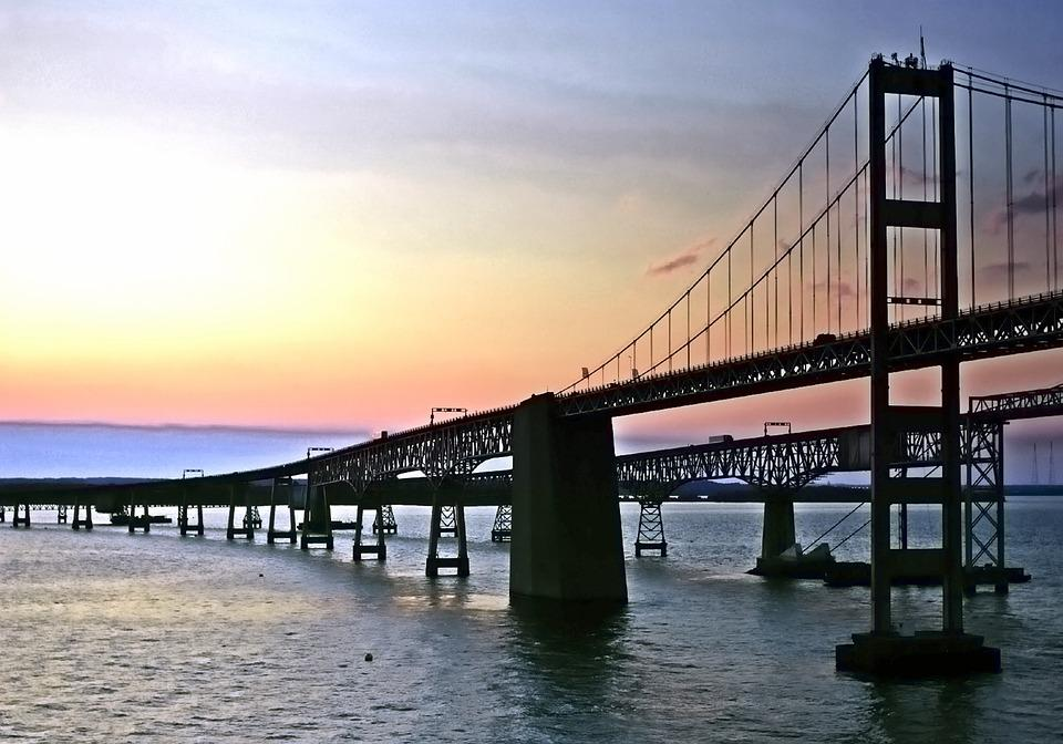 Bay Bridge, Bridge, Ocean City, Bay, Skyline, Water