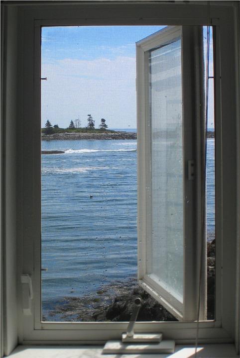Window, Casement, Maine, Boothbay, Ocean, Bay, Harbor
