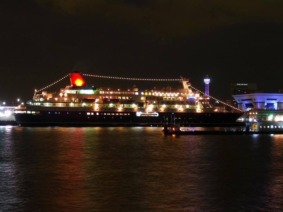 Japan, Cruise, Liner, Pier, Bay, Harbor, Water, Lights